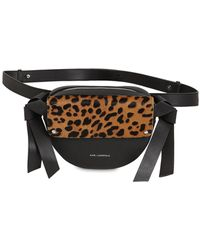 Karl Lagerfeld Logo Ponyskin & Leather Belt Bag - Multicolor