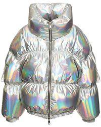 Dolce & Gabbana Нейлоновая Куртка С Эффектом Винила На Пуху - Металлик