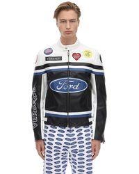 Versace Ford レザー モトクロスジャケット - ブラック