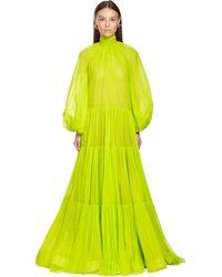 Valentino Платье Из Жоржета С Оборками - Зеленый