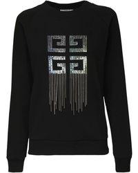 Givenchy Logo Cotton Jersey Sweatshirt W/ Fringe - Black