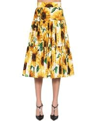 Dolce & Gabbana Sunflower-print Tiered Cotton-poplin Midi Skirt - Yellow