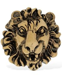 Gucci Lion Head Motif Brooch - Metallic