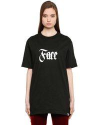 Facetasm T-shirt Aus Baumwolle Mit Gesichtsdruck - Schwarz