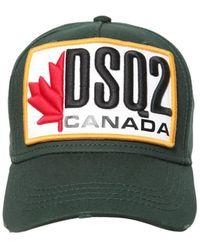 DSquared² Herren Snapback Cap PATCH CARGO Gabardine Logo Stickerei grün