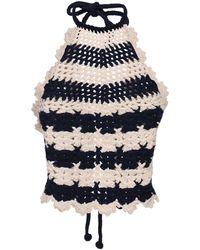 Gucci Wool Knit Crochet Crop Top - Blue