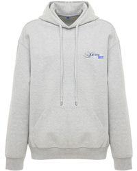 ADER error Logo Print Cotton Blend Jersey Hoodie - Gray