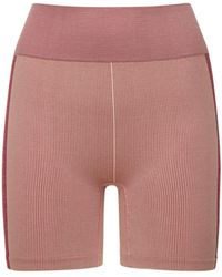 The Upside Circular Knit High Waist Midi Shorts - Pink