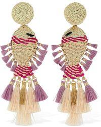 Mercedes Salazar Raffia Fish Clip-on Earrings - Pink