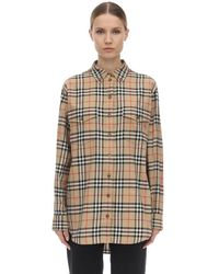 Burberry Oversize Checked Cotton Poplin Shirt - Natural