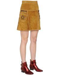 COACH - High Waisted Studded Suede Skirt - Lyst
