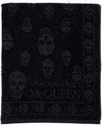 Alexander McQueen Skull Cotton Beach Towel - Black