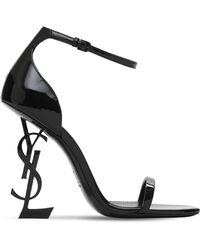Saint Laurent 110mm Opyum Patent Leather Sandals - Black
