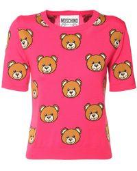 Moschino Intarsia Teddy Wool Knit Top - Pink