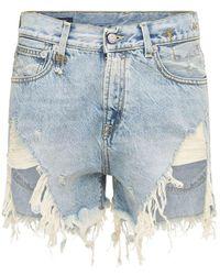 R13 Shorts Holgados De Denim Desgastados - Azul
