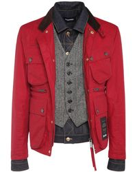 DSquared² Wax Cotton Boobou Tri Layer Jacket - Red