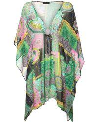 Versace シアーシルクジョーゼットカフタンドレス - グリーン