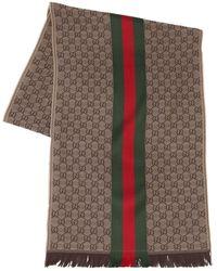 Gucci Schal Aus Wolle Und Seide Mit Logo - Natur