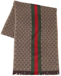 Gucci Logo Wool & Silk Scarf - Brown