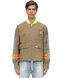 DIESEL Cotton Canvas Bomber Jacket - Natural
