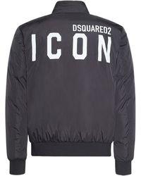 DSquared² Icon パデッドナイロンボンバージャケット - ブラック