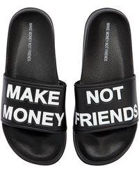MAKE MONEY NOT FRIENDS Sandali In Gomma Con Logo - Nero