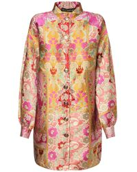Etro Платье Мини Из Жаккарда С Цветочным Узором - Розовый