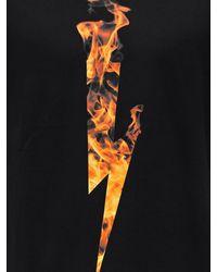 Neil Barrett T-shirt Aus Baumwolljersey Mit Druck - Schwarz