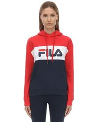 Fila Logo Cotton Blend Sweatshirt Hoodie - Red