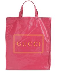 Gucci Logo Printed Coated Canvas Tote Bag - Pink