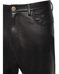 Versace 17cm Enge Hose Aus Leder - Schwarz