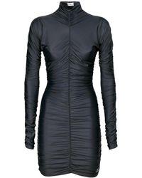Balenciaga Vestito Collo Alto In Spandex - Nero