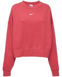 Nike Crewneck Cotton Blend Fleece Sweater - Pink