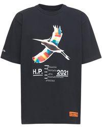 Heron Preston T-shirt Aus Baumwolljersey Mit Heron-druck - Schwarz