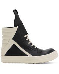 "Rick Owens Hohe Sneakers Aus Leder ""geobasket"" - Schwarz"