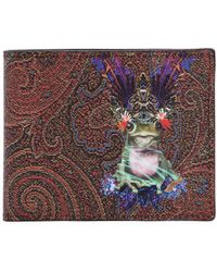 Etro - Psychedelic Frog Fabric & Leather Wallet - Lyst
