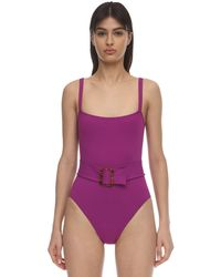 Eres Guilty Belted One Piece Swimsuit - Purple