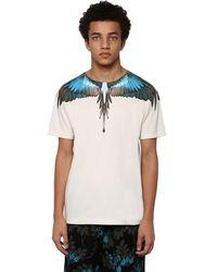 Marcelo Burlon Camiseta De Algodón Jersey Estampada - Azul