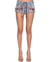 DSquared² Denim Shorts W/ Printed Silk Patchwork - Blue