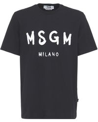 MSGM ビニールロゴ コットンジャージーtシャツ - ブラック