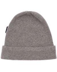Tom Ford Logo Label Cashmere Fisherman Rib Hat - Grey