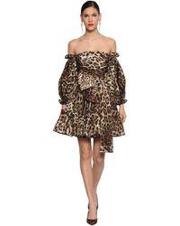 Dolce & Gabbana Платье Из Тафеты С Принтом - Коричневый