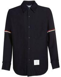 Thom Browne Куртка Из Смешанной Шерсти С Логотипом - Синий