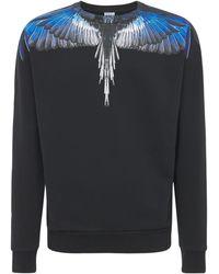 Marcelo Burlon Wings コットンジャージースウェットシャツ - ブラック