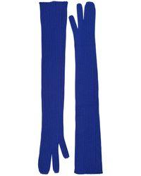 Maison Margiela Long Rib Knit Gloves - Blue