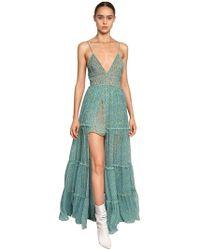 Amiri シルク レイヤーロングドレス - ブルー