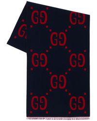 Gucci Платок Из Шерстяного И Шёлкового Жаккарда - Синий