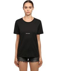 Saint Laurent Loose Logo Print Cotton Jersey T-shirt - Black