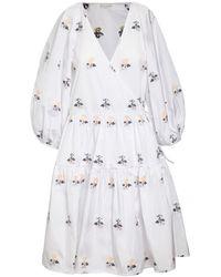 Cecilie Bahnsen Mirabelle Floral Taffeta Wrap Dress - White