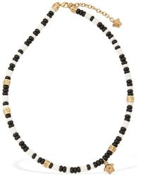 Versace Beaded Short Necklace W/ Medusa Charm - Black